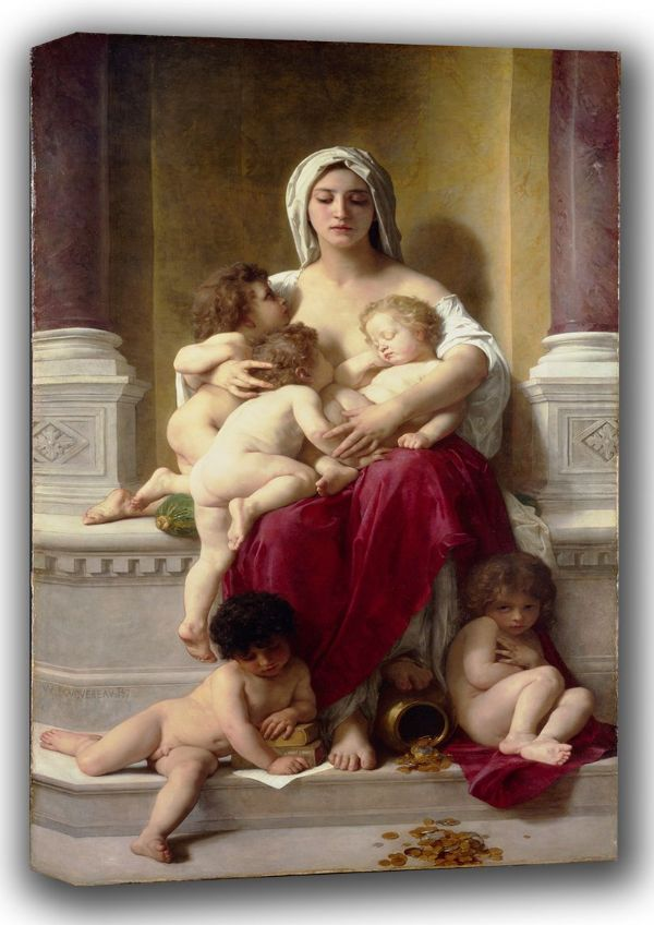 Bouguereau, William-Adolphe: Charity. Fine Art Canvas. Sizes: A4/A3/A2/A1 (001622)